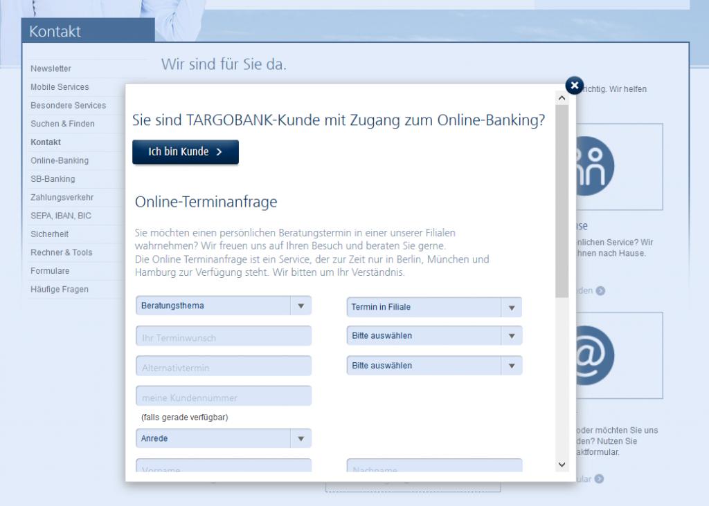 Die Online-Terminabfrage der Targobank