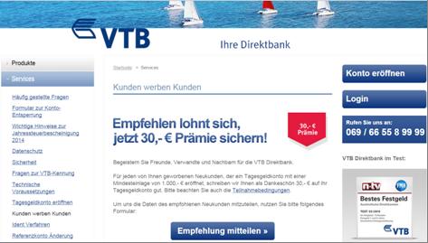 Die Werbeseite der VTB Direktbank
