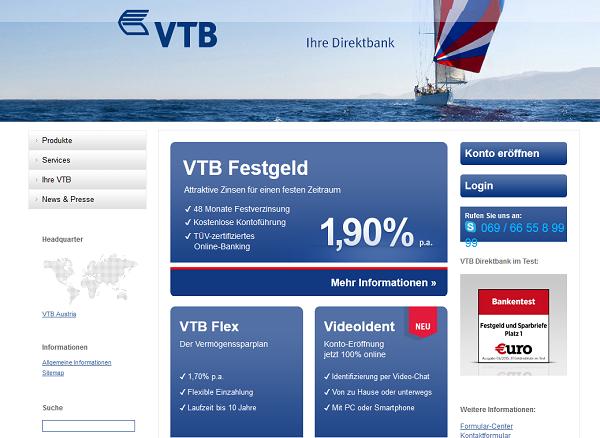 Der Webauftritt der VTB Bank