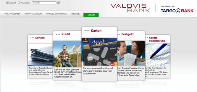 Die Startseite der Valovis Bank