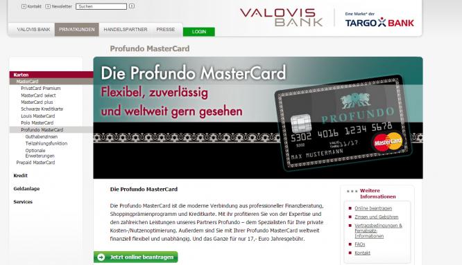 Das Kreditkartenangebot der Valovis Bank
