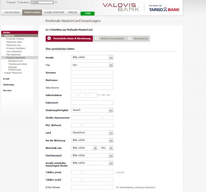 Die Anmeldemaske der Valovis Bank