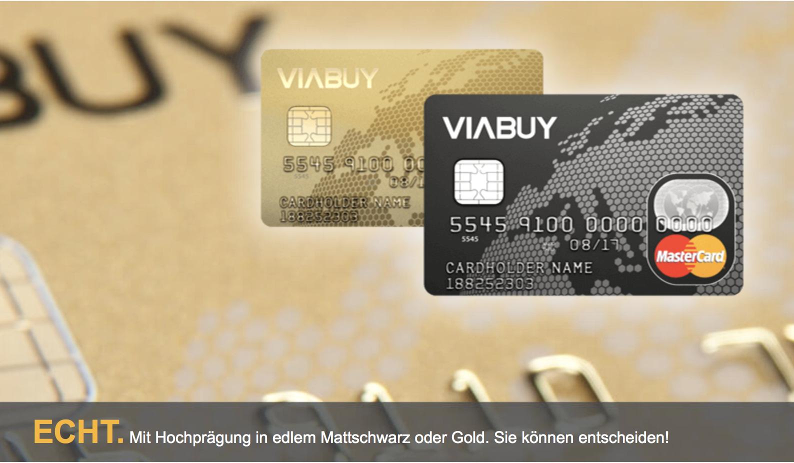 VIABUY bietet Ihnen die Mastercard mit Hochprägung an