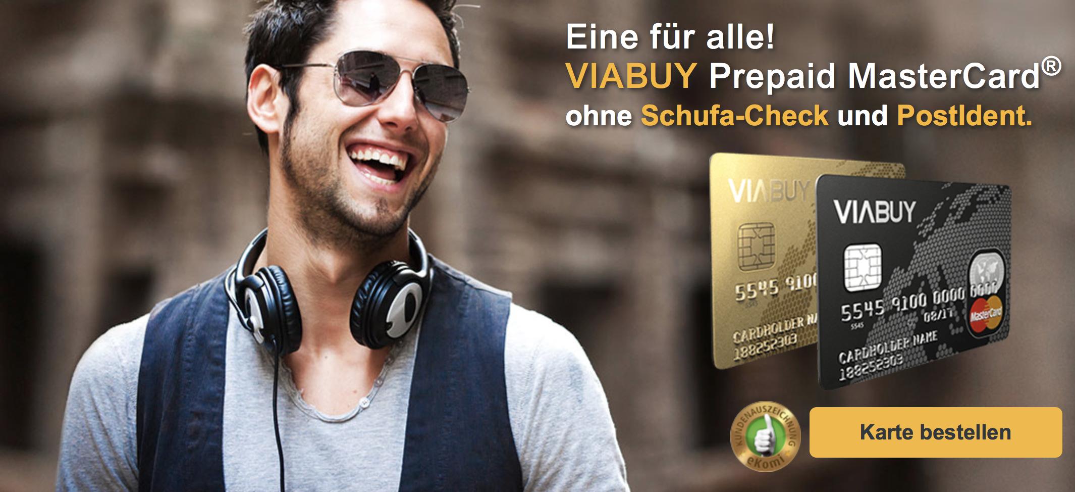 VIABUY bietet die Mastercard ohne Schufa-Check und PostIdent an