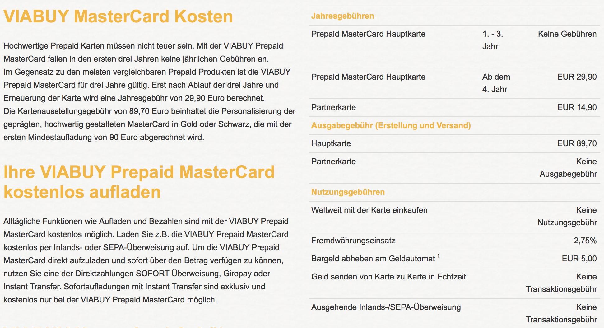 Alle Kosten für die VIABUY MasterCard im Überblick