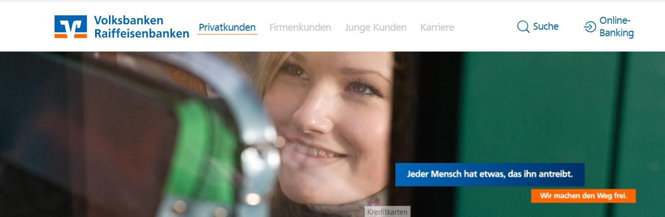 Ein Blick auf die Website der Volksbank