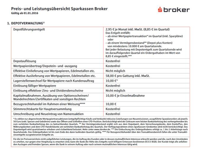 Screenshot sBroker Gebühr Depotverwaltung