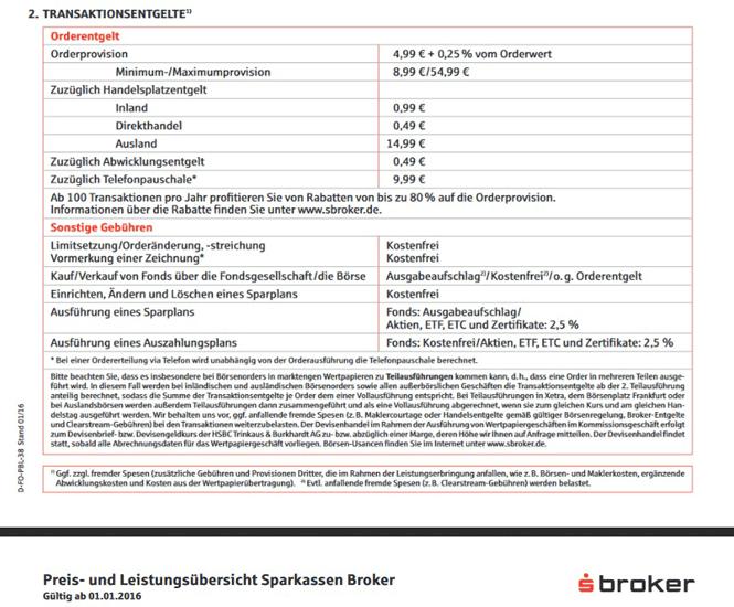 Screenshot sBroker Gebühr Wertpapierorder