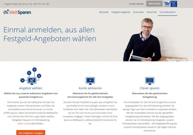 Die Homepage von WeltSparen