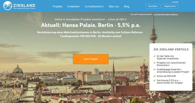 Die Homepage von Zinsland