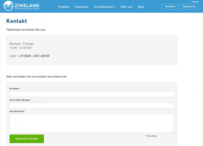 Das Kontaktformular von Zinsland
