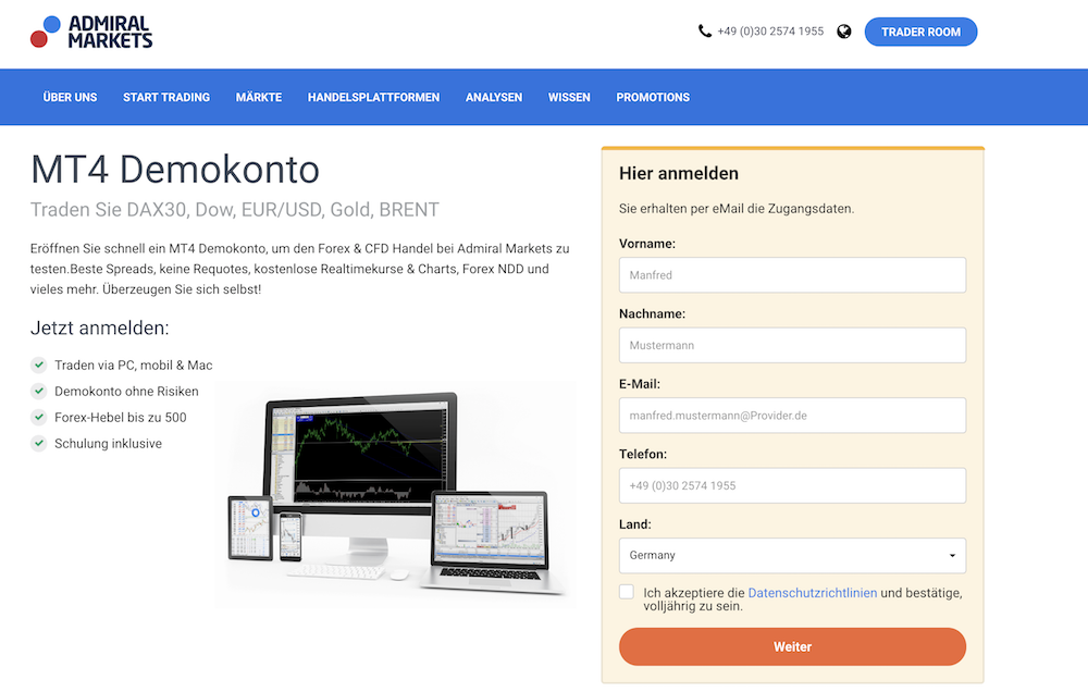 STP Broker Test Admiral Markets Demokonto