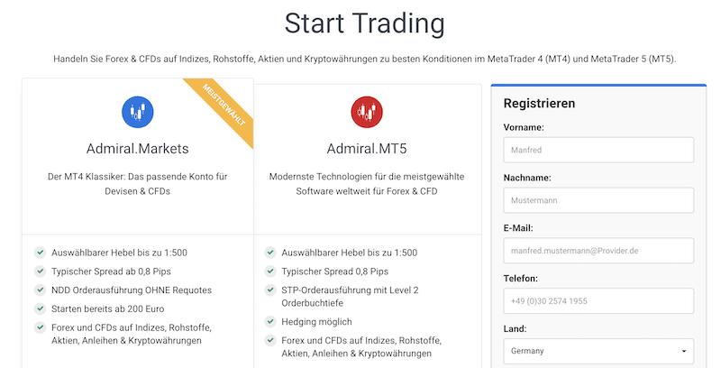 Admiral Markets Kontoauswahl