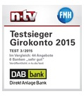 Das Girokonto der DAB Bank wurde unter anderem vom renommierten Nachrichtensender n-tv ausgezeichnet.