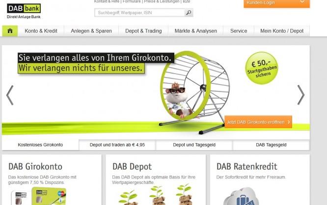 Screenshot der Hauptseite