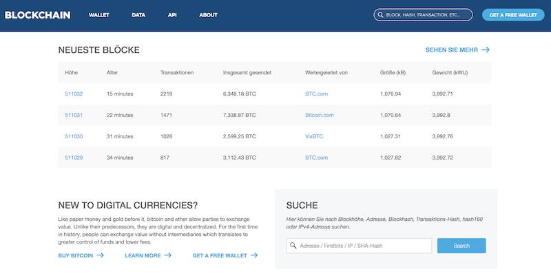 Blockchain.info Homepage