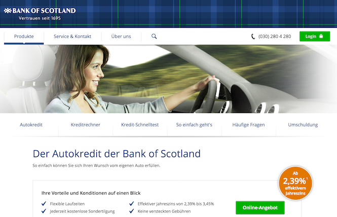 Bank of Scotland Konditionen