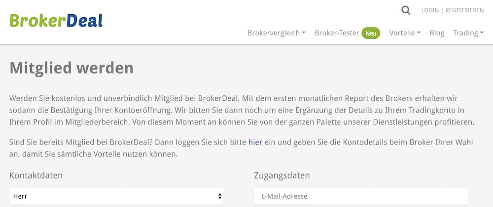 BrokerDeal Konto eröffnen