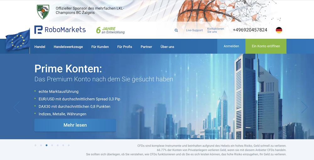 RoboMarkets Webseite