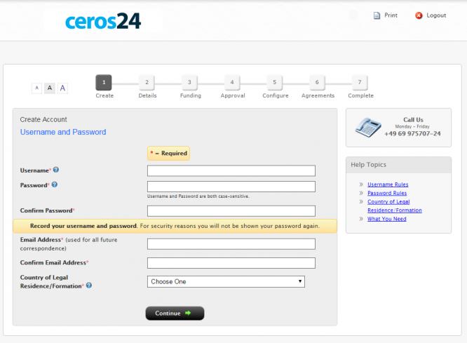 Die Online-Anmeldemaske für ein Livekonto bei ceros24