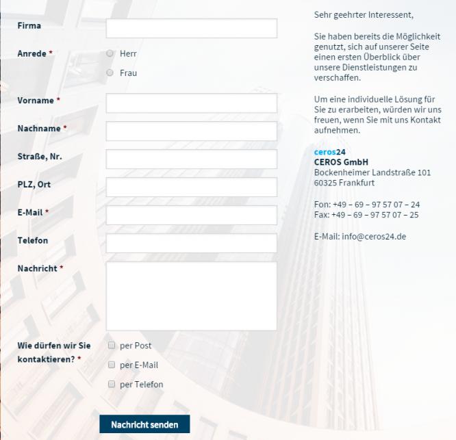 Das Rückrufservice-Formular von ceros24