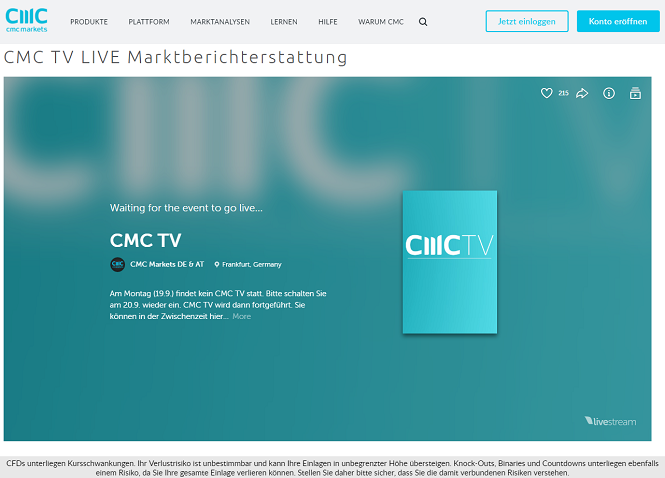 CMC Markets TV Live-Stream