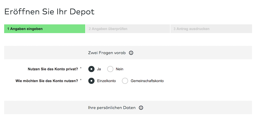 comdirect Depot Eröffnung
