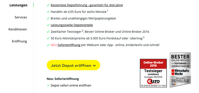 comdirect Depot - die Leistungen im Überblick