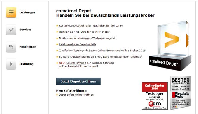 Comdirect Depot Leistungen und Kosten