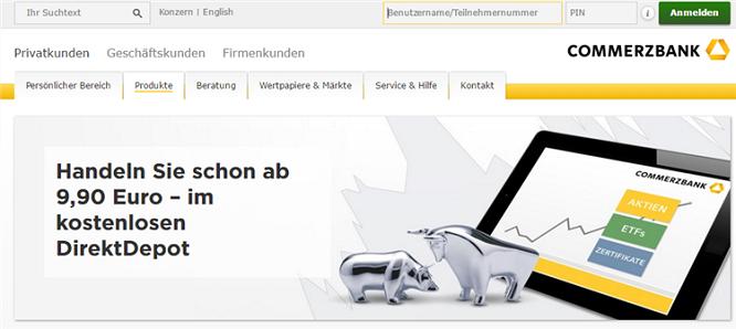 Mit dem Direktdepot der Commerzbank ist der Handel bereits ab 9,90 Euro möglich