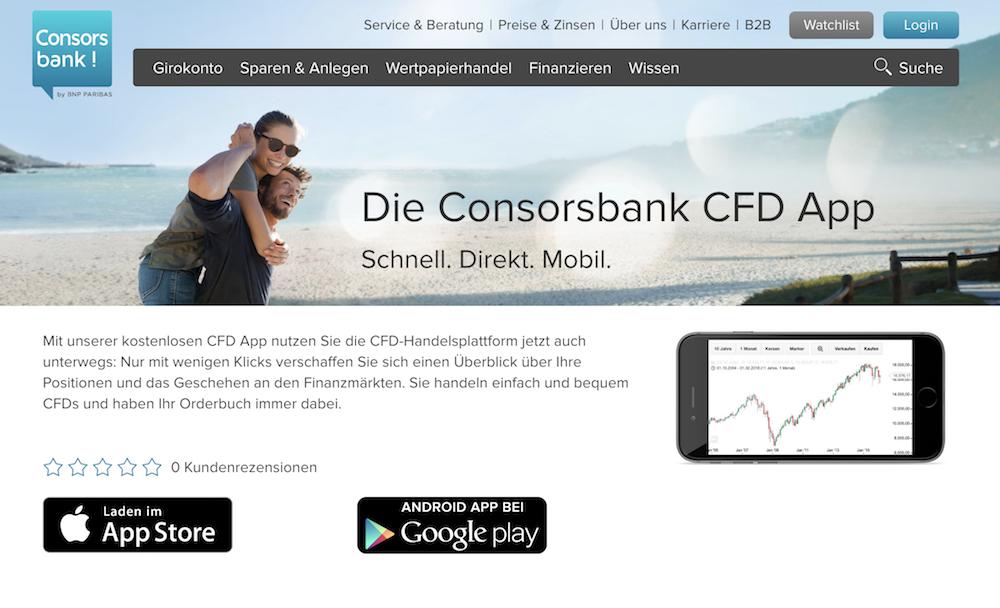 Damit Kunden der Consorsbank auch unterwegs immer auf dem neusten Stand sind - die CFD-App
