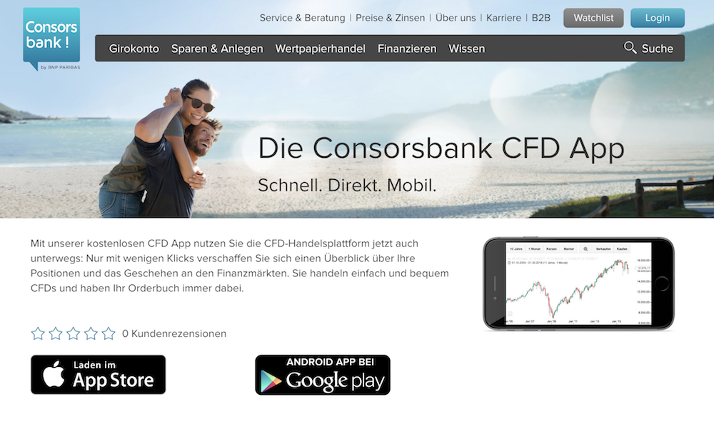 Dank der Consorsbank App können Anleger auch unterwegs investieren