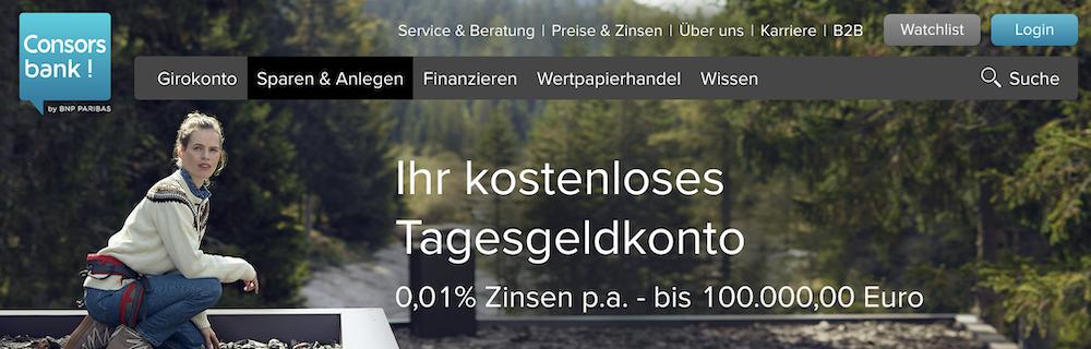 Consorsbank kostenloses Tagesgeldkonto Erfahrungen & Test