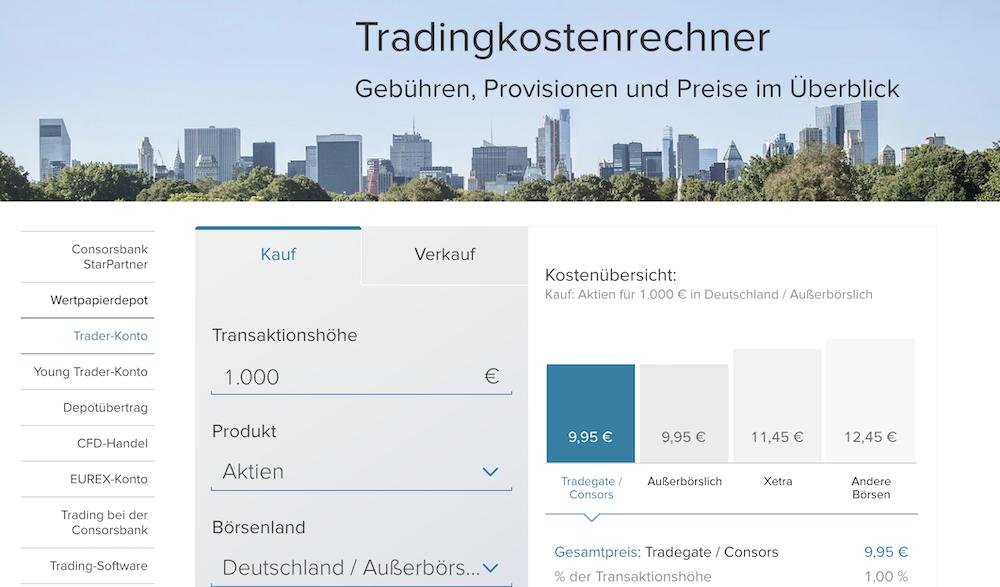 Consorsbank Tradingkostenrechner