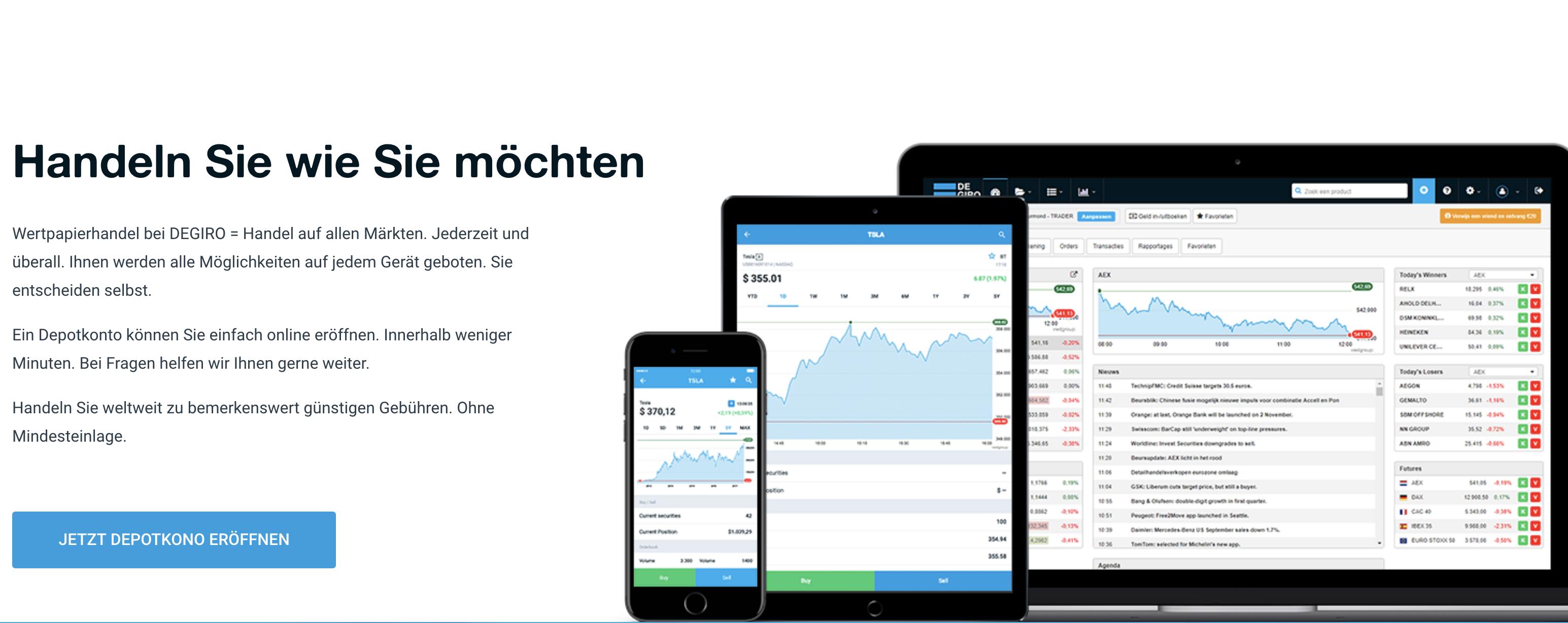 DEGIRO bietet seine Finanzprodukte auf verschiedenen Plattformen an