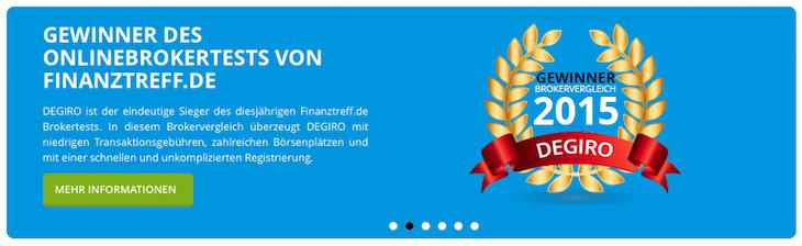 DEGIRO wurde bereits mehrfach ausgezeichnet. Darunter befindet sich auch eine Prämierung von Finanztreff.de