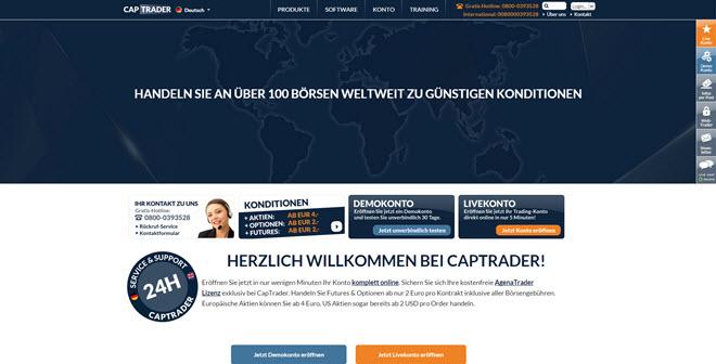 Attraktive Bonusangebote werden auf der CapTrader Webseite angeboten