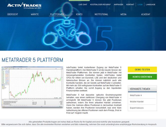 Die MetaTrader5 Plattform bei ActivTrades