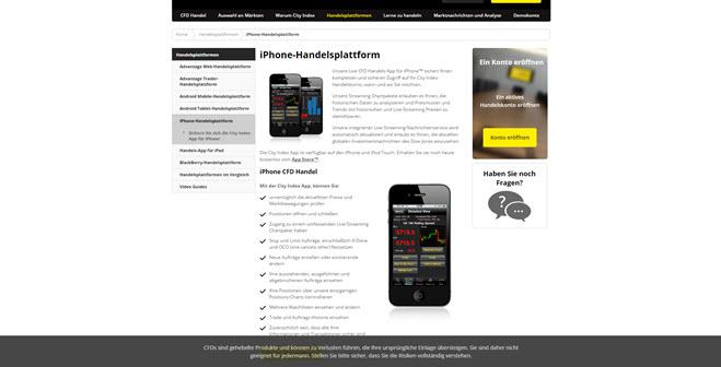 City Index bietet seinen Kunden eine mobile Handelsplattform