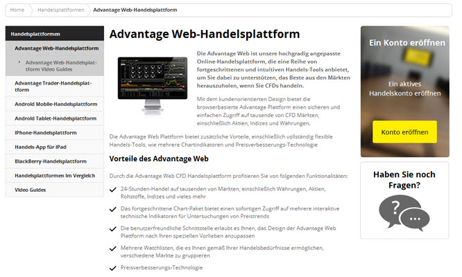 City Index bietet die Advantage-Handelsplattform an