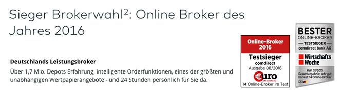 comdirect Auszeichnungen - Prämierter Broker