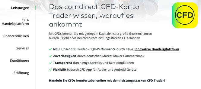 comdirect CFD Leistungen im Überblick