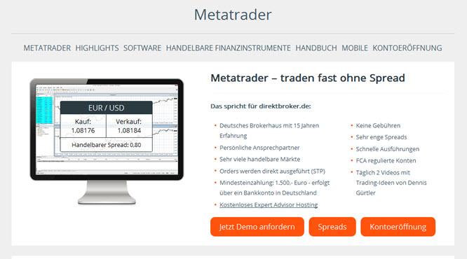 Direktbroker.de nutzt den MetaTrader als Handelsplattform