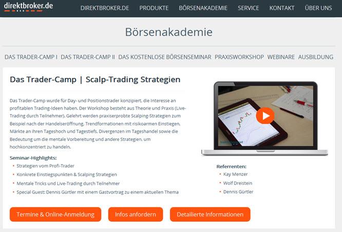 """Es werden auch Seminare angeboten (""""Trader-Camp"""")"""