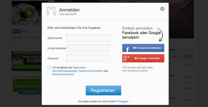 eToro Facebook oder Google+ Account anmelden