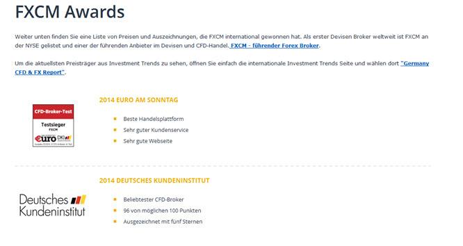 Die Preise und Auszeichnungen von FXCM