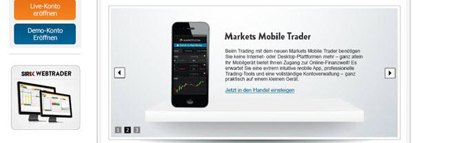 Jetzt auch von unterwegs traden mit der Markets.com App