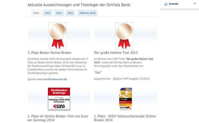 Mehrere Auszeichnungen für eine sehr gute OnVista Erfahrung