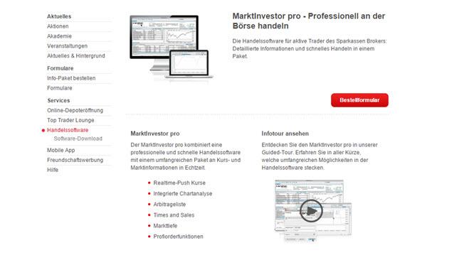 S-Broker Marktinvestor Pro Plattform