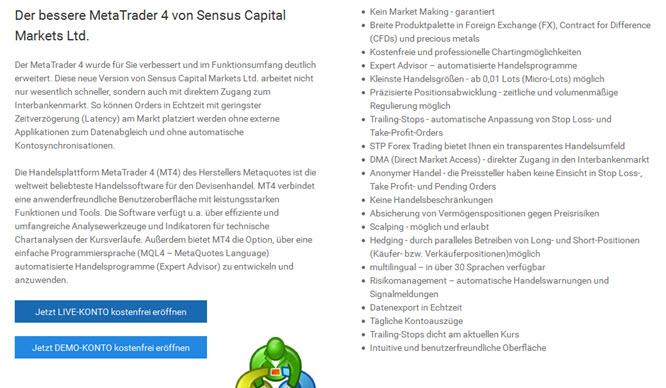 Bei Sensus Capital Markets mit dem MetaTrader4 handeln